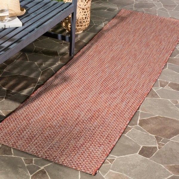 Safavieh Indoor/ Outdoor Courtyard Red/ Beige Rug - 2' 3 x 8'