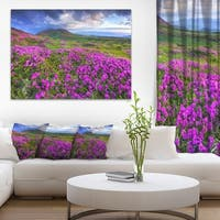 Rhododendron Flowers in Mountains - Landscape Photo Canvas Print