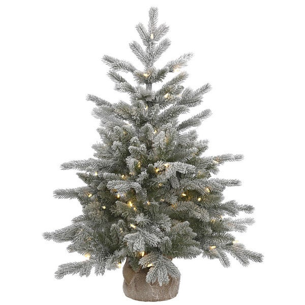 Frosted Slim Christmas Tree: Shop Vickerman White And Green PVC Frosted Sable Pine