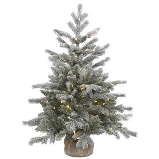 Vickerman White and Green PVC Frosted Sable Pine Artificial Christmas Tree with 100 Warm White LED Lights