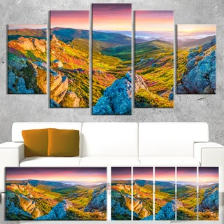 Pink Rhododendron Flowers - Landscape Photo Canvas Art Print