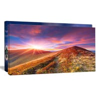 Colorful Grass and Clouds - Landscape Photography Canvas Print - Purple