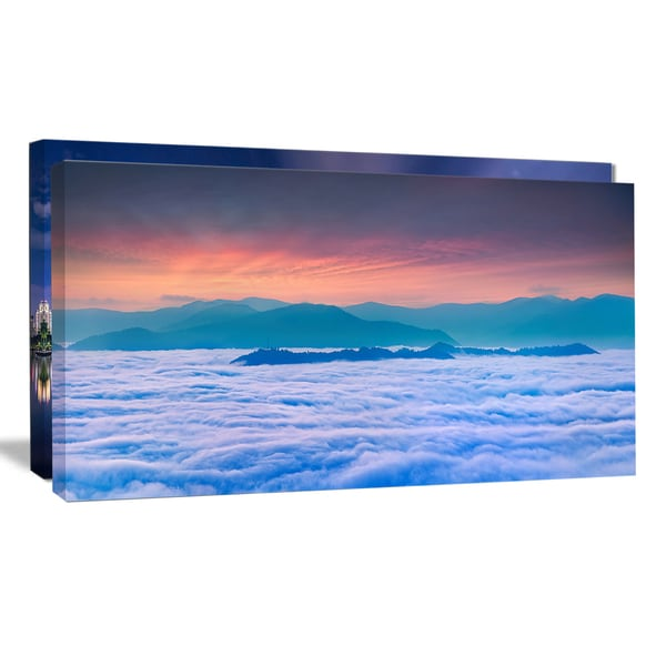 Sea of White Fog and Mountains - Landscape Photo Canvas Print