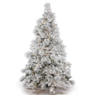 Vickerman Green Plastic 9-foot Flocked Alberta Artificial Christmas Tree with 950 Warm White LED Lights