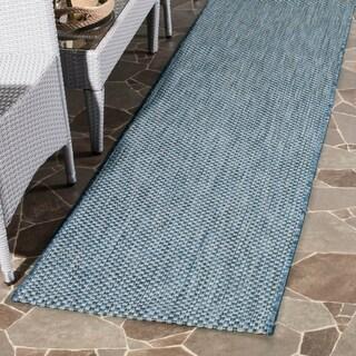 Safavieh Indoor/ Outdoor Courtyard Navy/ Grey Rug (2' 3 x 12')