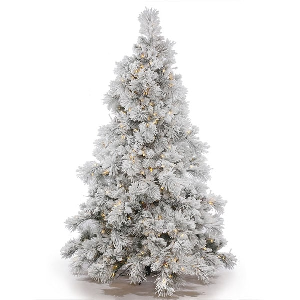 6.5 foot x 58 inch Flocked Alberta with Pine Cones 500 LED Warm White Lights. Opens flyout.