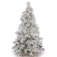 Vickerman Green Plastic 3.5-foot Flocked Alberta Artificial Christmas Tree with 150 Warm White LED Lights