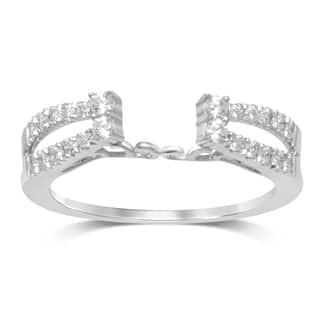 unending love 14k white gold 13ct diamond tdw 2 row enhancer ring - Wedding Ring Enhancers