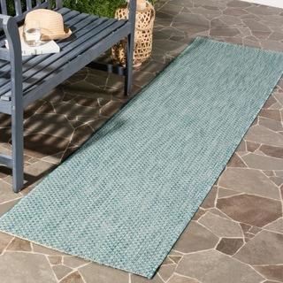 Safavieh Indoor/ Outdoor Courtyard Aqua/ Grey Rug (2' 3 x 12')