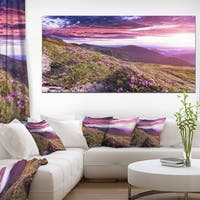 Rhododendron Flowers in Hills - Landscape Photo Canvas Art Print - Purple