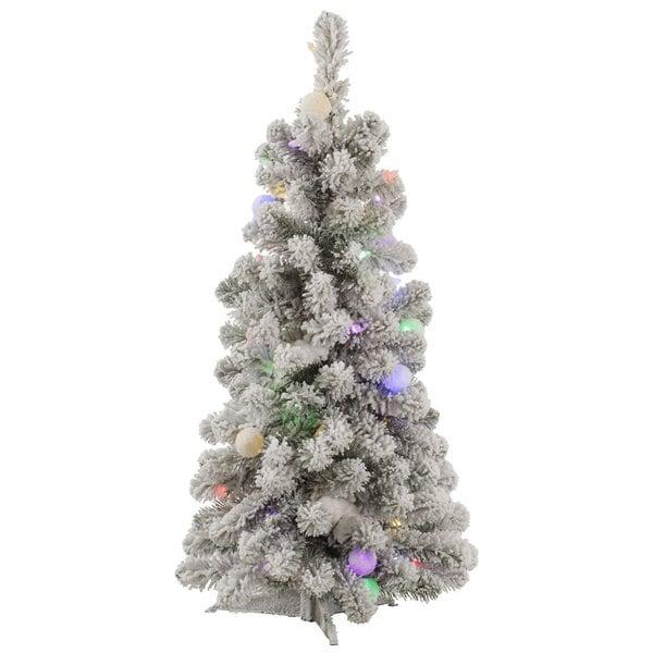 50 Foot Christmas Tree: Shop Vickerman Flocked White/Green PVC 3-foot Kodiak