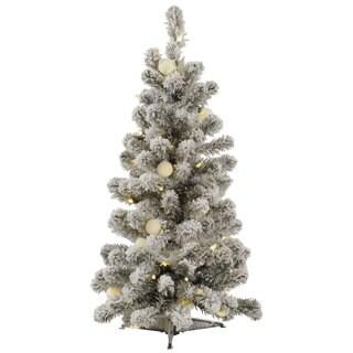 3' Flocked Kodiak Spruce Artificial Christmas Tree with 50 Warm White LED and 15 Warm White G40 LED Lights