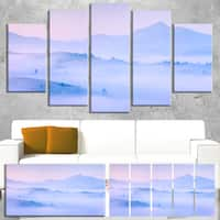 Silhouettes of Morning Mountains - Landscape Photo Canvas Print - Blue