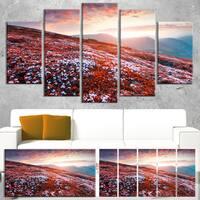 Blooming Fields in Carpathian - Landscape Photo Canvas Art Print - Red