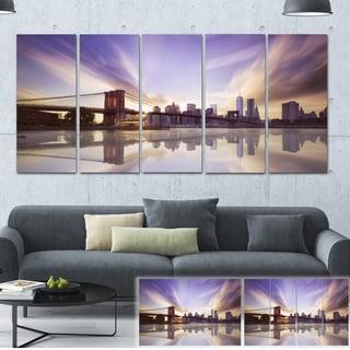 Purple Sky Over Brooklyn Bridge - Cityscape Photo Canvas Print