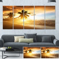 Caribbean Seashore Sunset - Seascape Photo Canvas Art Print