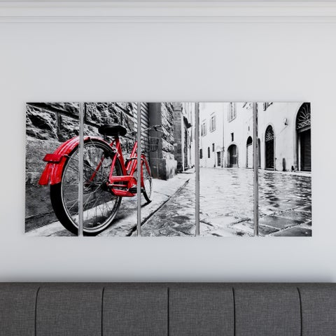 Porch & Den 'Retro Vintage Red Bike' Cityscape Photography Canvas Print