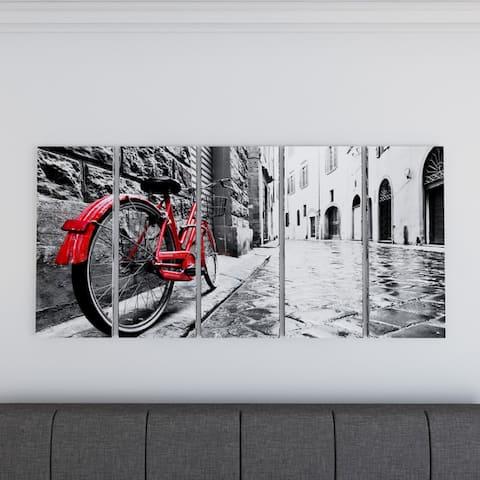 Carbon Loft 'Retro Vintage Red Bike' Cityscape Photography Canvas Print