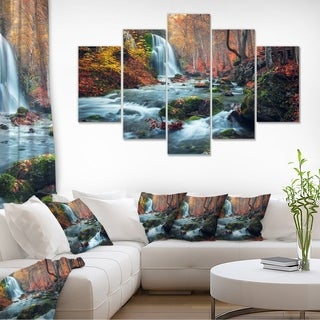 Autumn Mountain Waterfall Long View - Landscape Photo Canvas Print - Orange