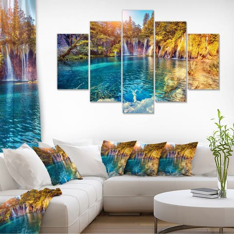 Turquoise Water and Sunny Beams Large Landscape Photo Canvas Print - Blue