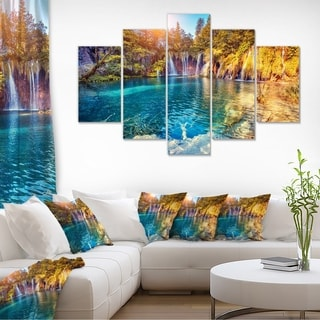 Turquoise Water and Sunny Beams - Landscape Photo Canvas Print