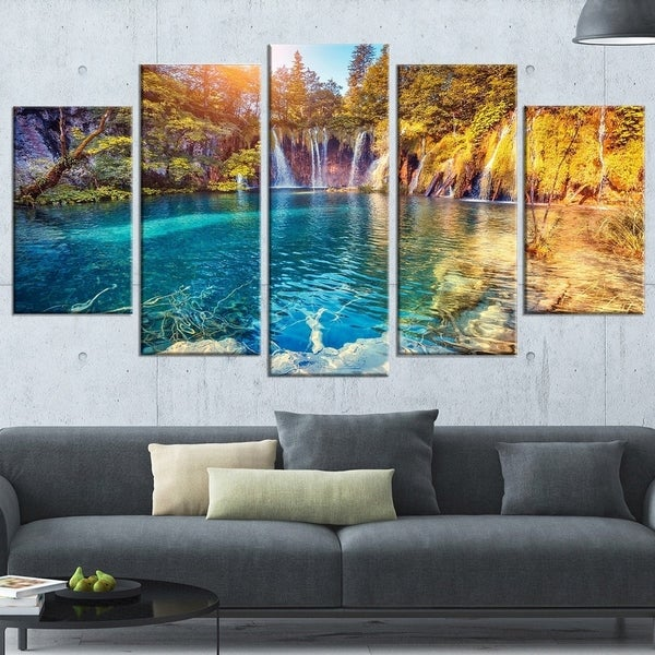 Shop Turquoise Water and Sunny Beams Large Landscape Photo Canvas ...