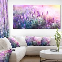 Growing and Blooming Lavender - Floral Photo Canvas Art Print - Purple