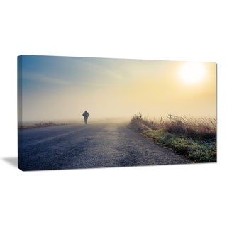 Man Silhouette in Fog - Landscape Photo Canvas Art Print