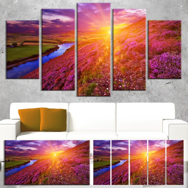 Colorful Scottish Mountains - Landscape Photography Canvas Print - Red