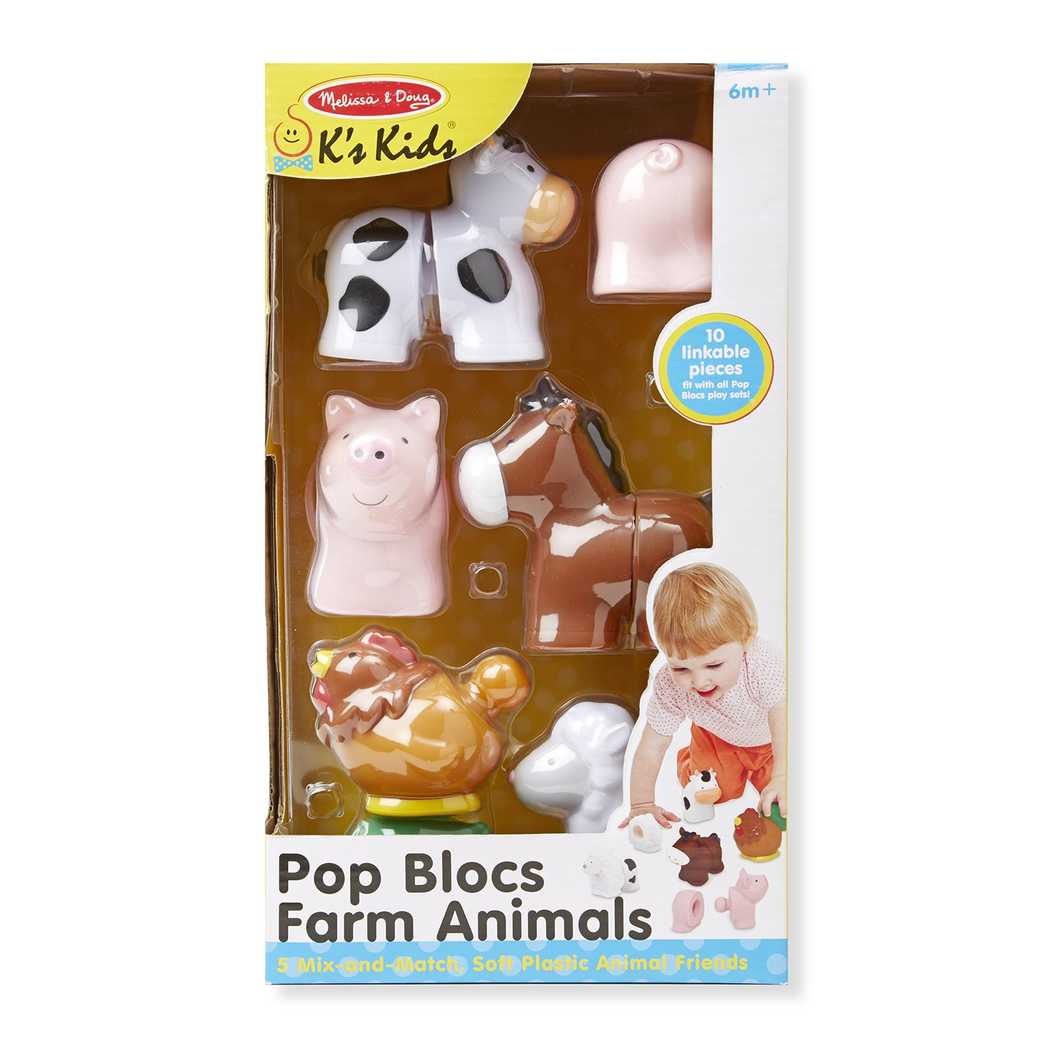 Melissa and Doug Pop Blocs Farm Animals, Pink