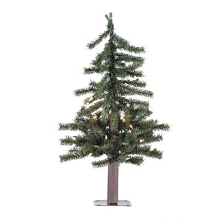 Vickerman 2-foot Natural Alpine Artificial Christmas Tree with 35 Clear Lights