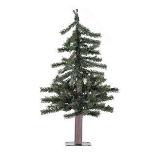 Vickerman Green Plastic 2-foot Natural Alpine Unlit Artificial Christmas Tree
