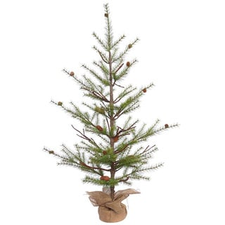 Vickerman Green Plastic 4-foot River Pine Artificial Christmas Tree