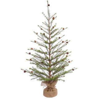 Vickerman Green PVC and Hard Needle 48-inch Missoula Pine Unlit Artificial Christmas Tree