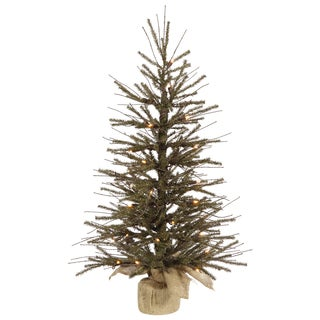 Vickerman Green Plastic 48-inch Vienna Twig Artificial Christmas Tree with 70 Warm White LED Lights