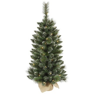 Vickerman Green Plastic 3-foot Snow-tipped Mixed Pine and Berry Christmas Tree with 50 Warm White LED Lights