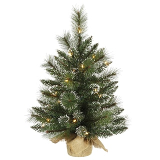 Vickerman Green Plastic 2-foot Snow Tipped Mixed Pine and Berry Christmas Tree with 35 Clear Lights