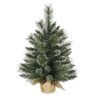 Vickerman Frosted Green PVC 2-foot Snow-tipped Mixed Pine and Berry Unlit Christmas Tree