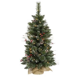 Vickerman Green Plastic 3-foot Snow-tipped Pine and Berry Artificial Christmas Tree with 50 Warm White LED Lights