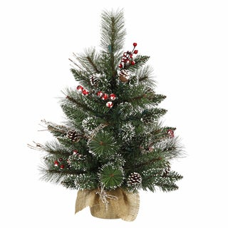 Vickerman Green Plastic 2-foot Snow Tipped Pine and Berry Unlit Artificial Christmas Tree