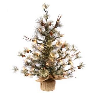 Vickerman Green Plastic 24-inch Dakota Pine Artificial Christmas Tree with 35 Clear Lights
