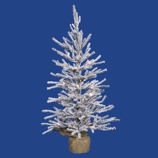 Vickerman Flocked White-on-Green PVC 24-inch Frosted Angel Pine Artificial Christmas Tree with 35 Clear Lights