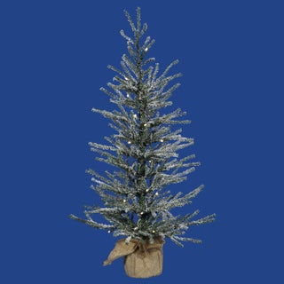 Vickerman Green Plastic 36-inch Frosted Angel Pine Artificial Christmas Tree with 50 Warm White LED Lights