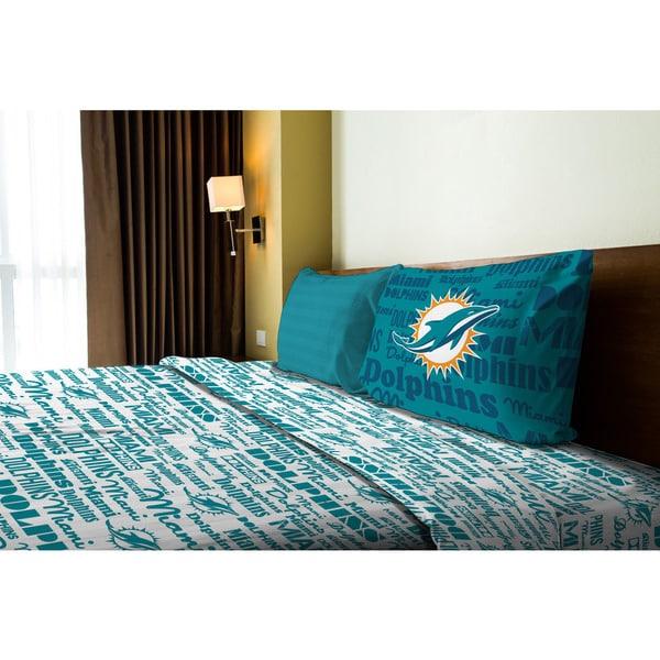 NFL 820 Dolphins Anthem Twin Sheet Set