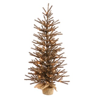 Vickerman Chocolate Brown PVC 48-inch Artificial Christmas Tree with 100 Clear Lights