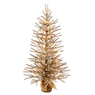 Vickerman Mocha 30-inch Artificial Christmas Tree with 35 Warm White LED Lights