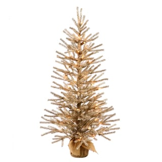 Vickerman Brown Plastic 24-inch Mocha Artificial Christmas Tree with 35 Warm White LED Lights