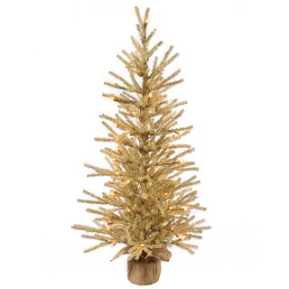 Vickerman Brown Plastic 48-inch Champagne Artificial Christmas Tree With 100 Warm White LED Lights