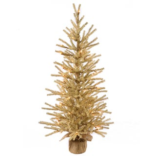 Vickerman Champagne Brown Plastic 48-inch Artificial Christmas Tree with 100 Clear Lights