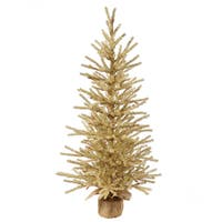 Vickerman Brown Plastic 36-inch Champagne Unlit Artificial Christmas Tree